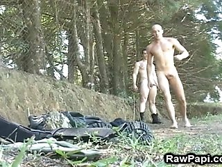 A Poofter Gets His Butt Fingered And Drilled In The Forest